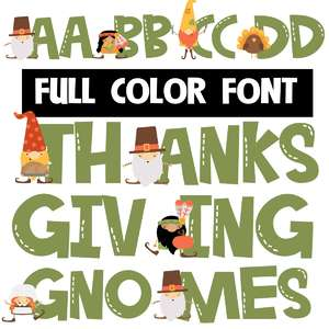 thanksgiving gnomes color font
