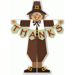 pilgrim boy figure with thanks banner
