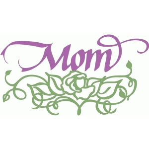 mom & calligraphic rose ornament