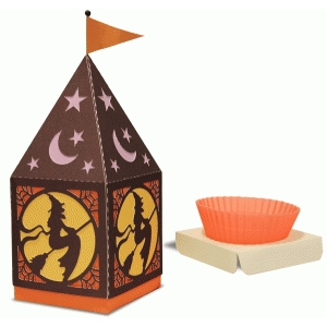 peaked roof cup cake witch box