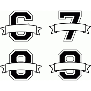 banner split monograms numbers 6-9