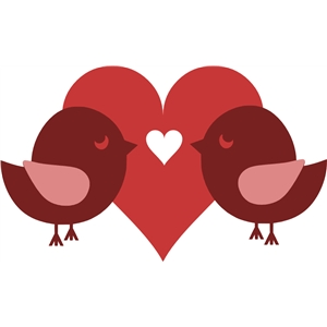 2 love birds with heart