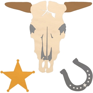western skull, badge, & horseshoe