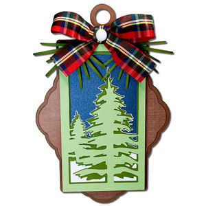 winter trees ornament gift tag