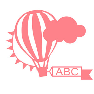 air balloon word frame