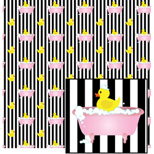 bathtub ducky on stripes pattern