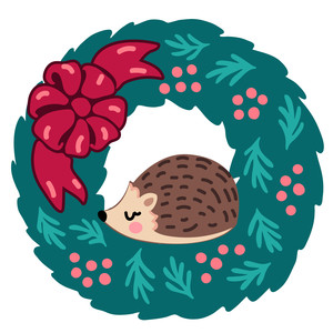 hedgehog in a christmas wreath