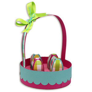 easter basket with paper eggs