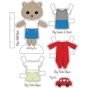 little friends paper set-cute boy bear