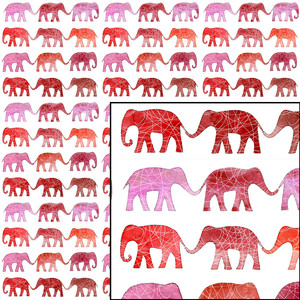 pink watercolor elephant seamless repeat pattern