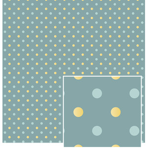 blue with yellow polka dots