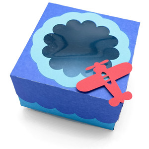 window lid square box with airplane
