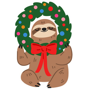 christmas sloth with wreath