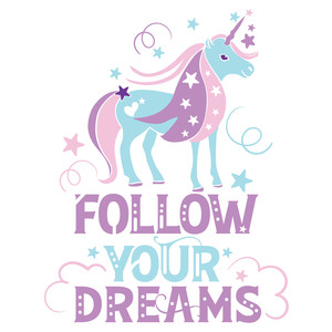 follow your dreams unicorn design