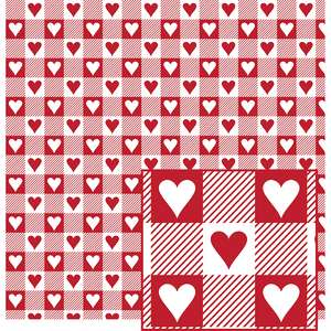 red and white w/hearts buffalo plaid pattern