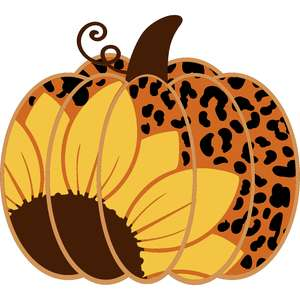 leopard print sunflower pumpkin