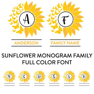 sunflower monogram family full color font