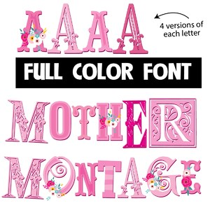 mother montage color font