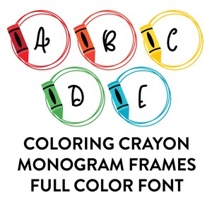 coloring crayon monogram frames full color font