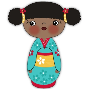 black kokeshi doll