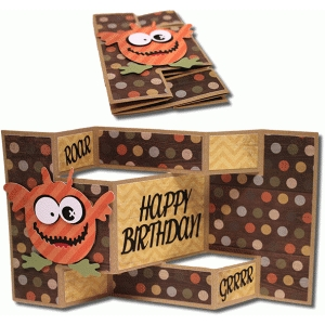 monster birthday tri-shutter card