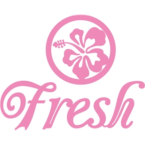 'fresh' word flower logo set
