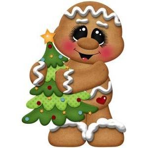 christmas gingerbread holding tree