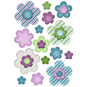 candy striped flower planner stickers