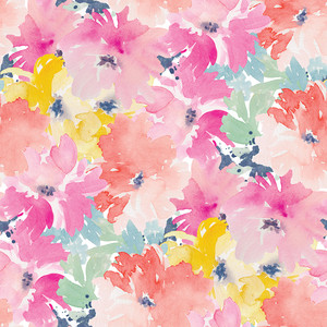 bright, watercolor flower pattern. spirit flowers.