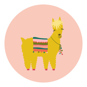 yellow and pink llama