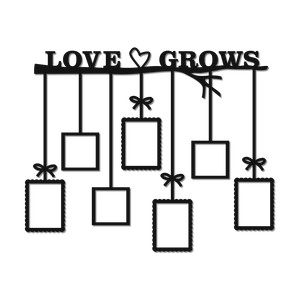 'love grows' wall art family tree
