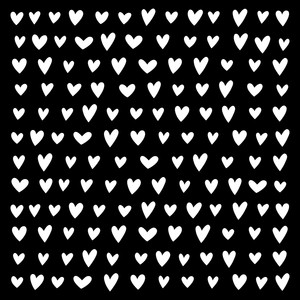 rows of hearts stencil