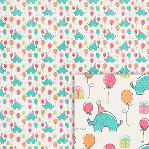 birthday elephant background paper