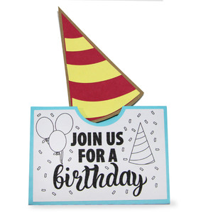 pocket coloring card - join us for a birthday party!