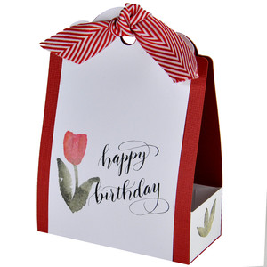 happy birthday watercolour tulip tag box