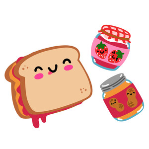 kawaii peanut butter jelly sandwich