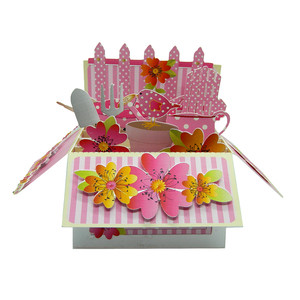 pink garden pop up card in a box