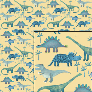 jurassic dinosaurs seamless yellow pattern