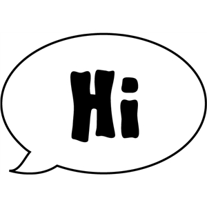 'hi' speech bubble