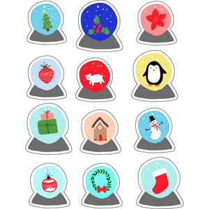 ml my christmas globes stickers