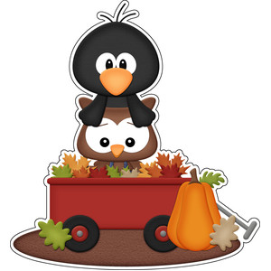 autumn owl & crow in wagon