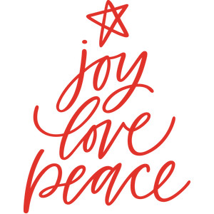 handwritten joy love peace christmas tree