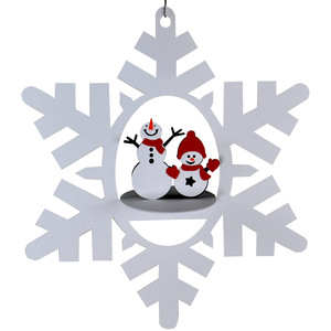 snowmen snowflake 3d oval hanging ornament