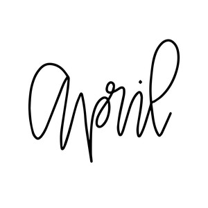 hand lettered month - april
