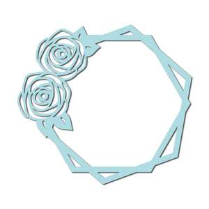 roses outline hexagon frame