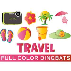 full-color travel dingbats font