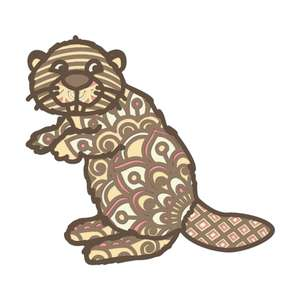 cute beaver layered mandala