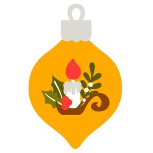 christmas ornament with candle and holly