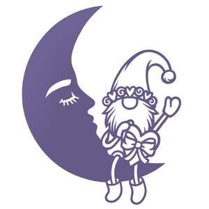 moon and gnome with a heart