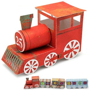 3d advent calendar train engine